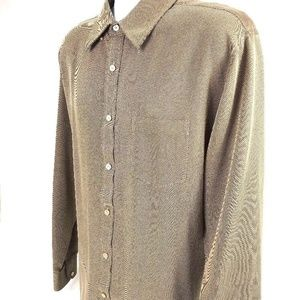 Murano Mens Button-Down Shirt Gold and Black XL
